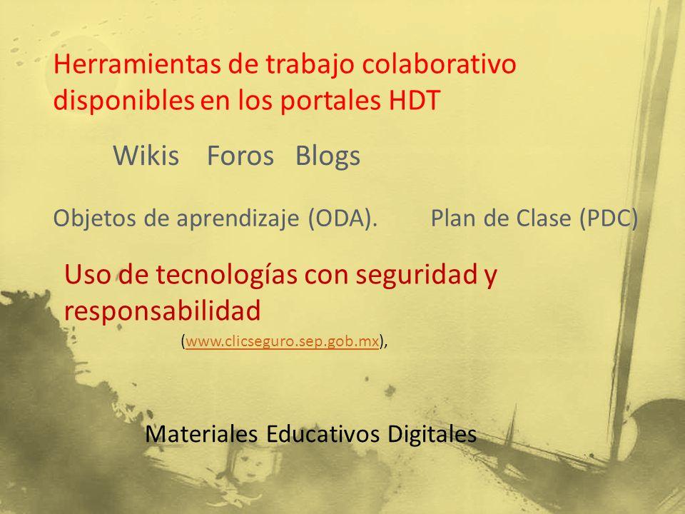 Herramientas de trabajo colaborativo disponibles en los portales HDT
