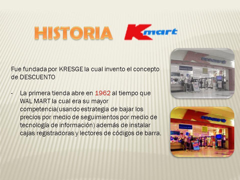 HISTORIA Fue fundada por KRESGE la cual invento el concepto de DESCUENTO.
