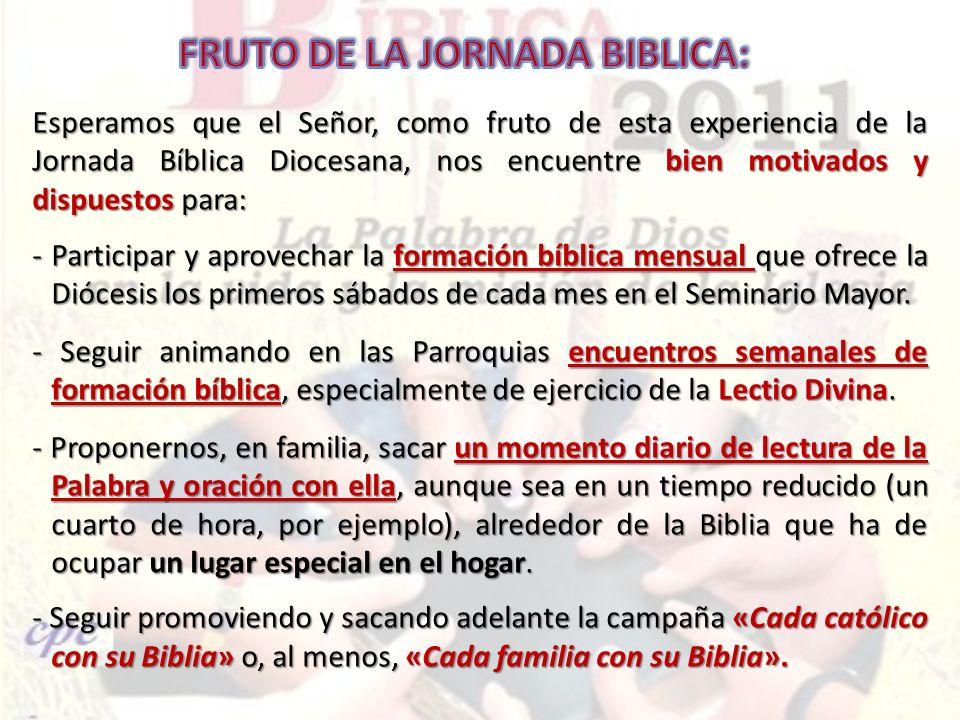 FRUTO DE LA JORNADA BIBLICA:
