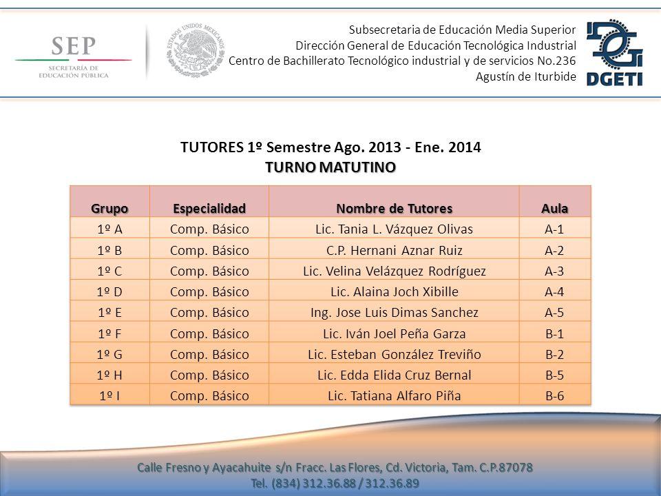 TUTORES 1º Semestre Ago. 2013 - Ene. 2014 TURNO MATUTINO