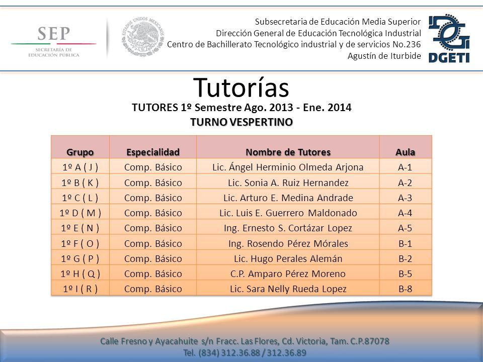 Tutorías TUTORES 1º Semestre Ago. 2013 - Ene. 2014 TURNO VESPERTINO