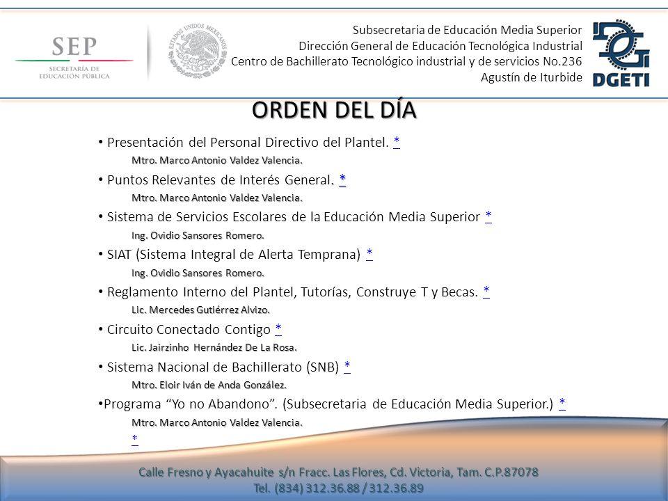 ORDEN DEL DÍA Presentación del Personal Directivo del Plantel. *