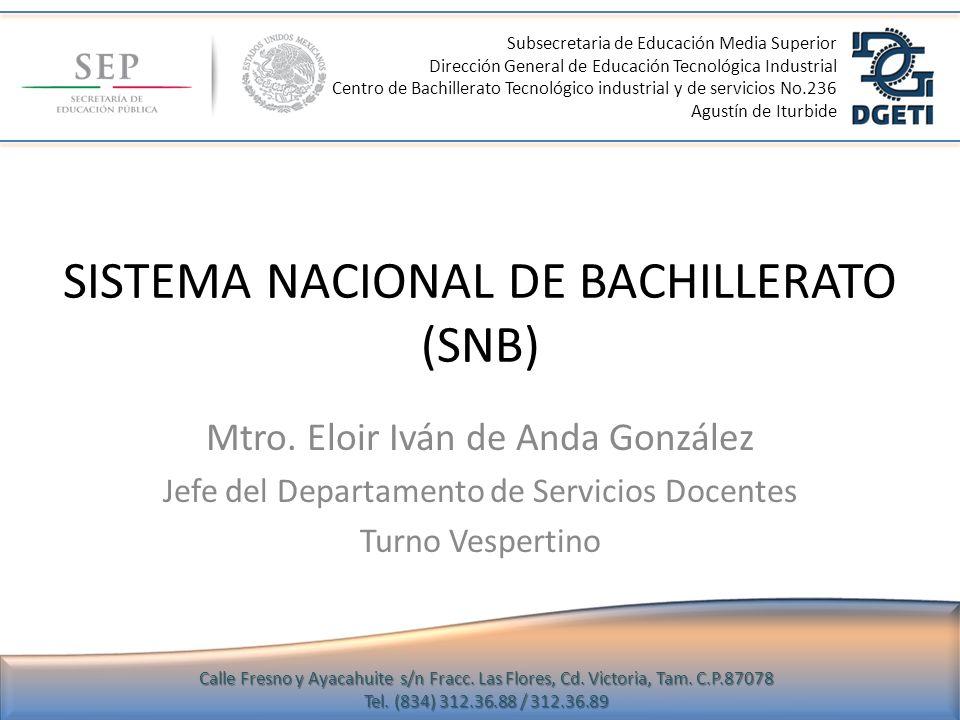 SISTEMA NACIONAL DE BACHILLERATO (SNB)