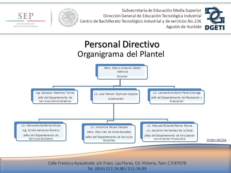 Personal Directivo Organigrama del Plantel