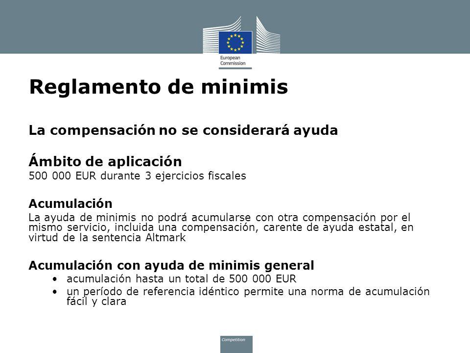 Reglamento de minimis La compensación no se considerará ayuda