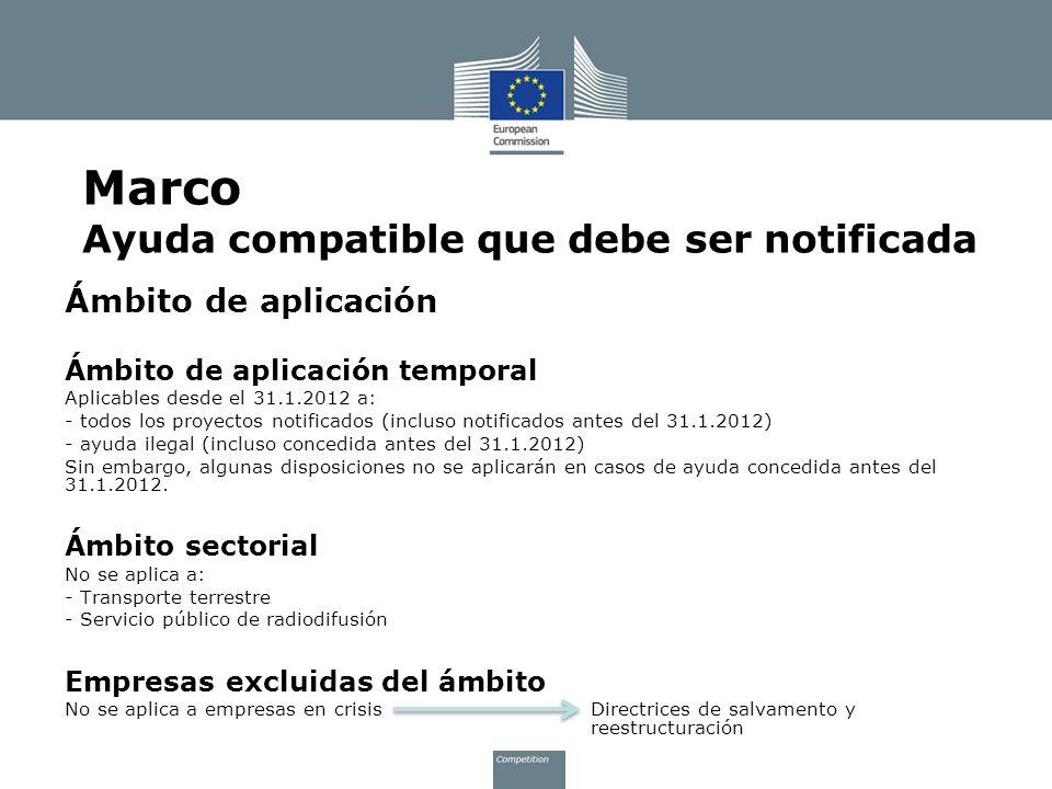 Marco Ayuda compatible que debe ser notificada