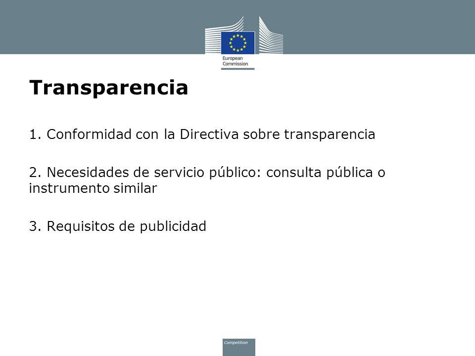 Transparencia 1. Conformidad con la Directiva sobre transparencia