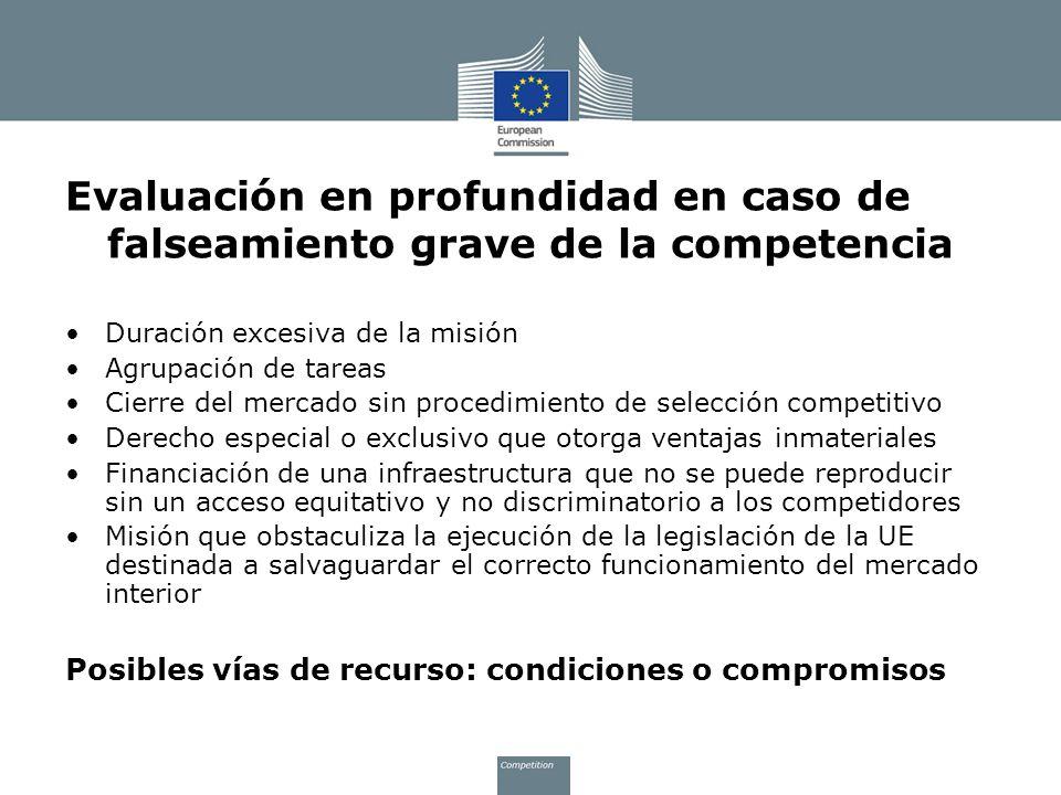 Evaluación en profundidad en caso de falseamiento grave de la competencia