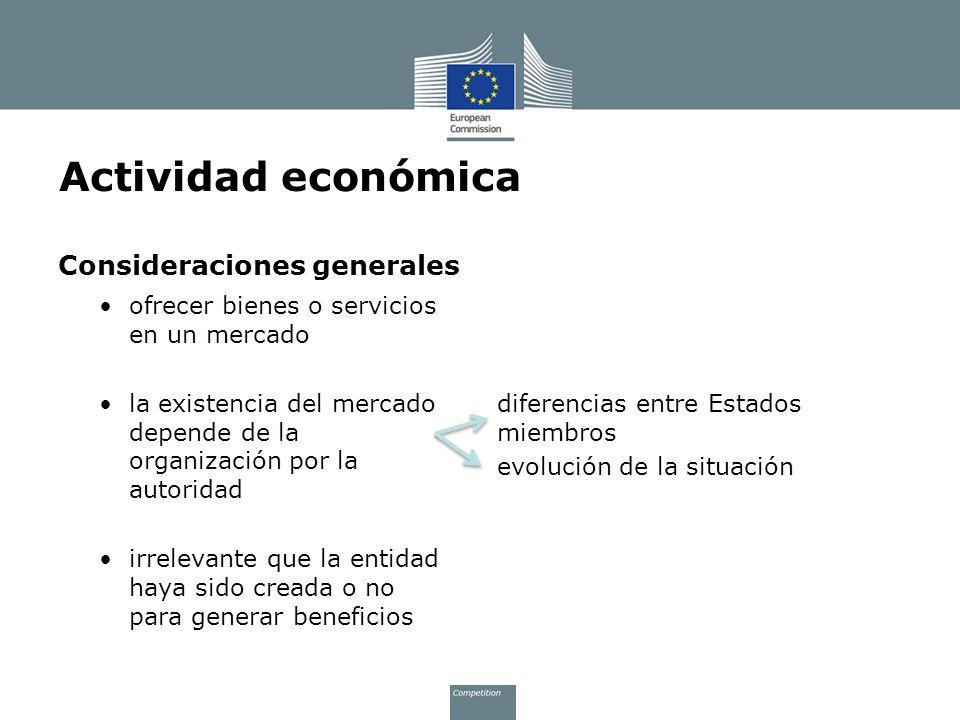 Actividad económica Consideraciones generales
