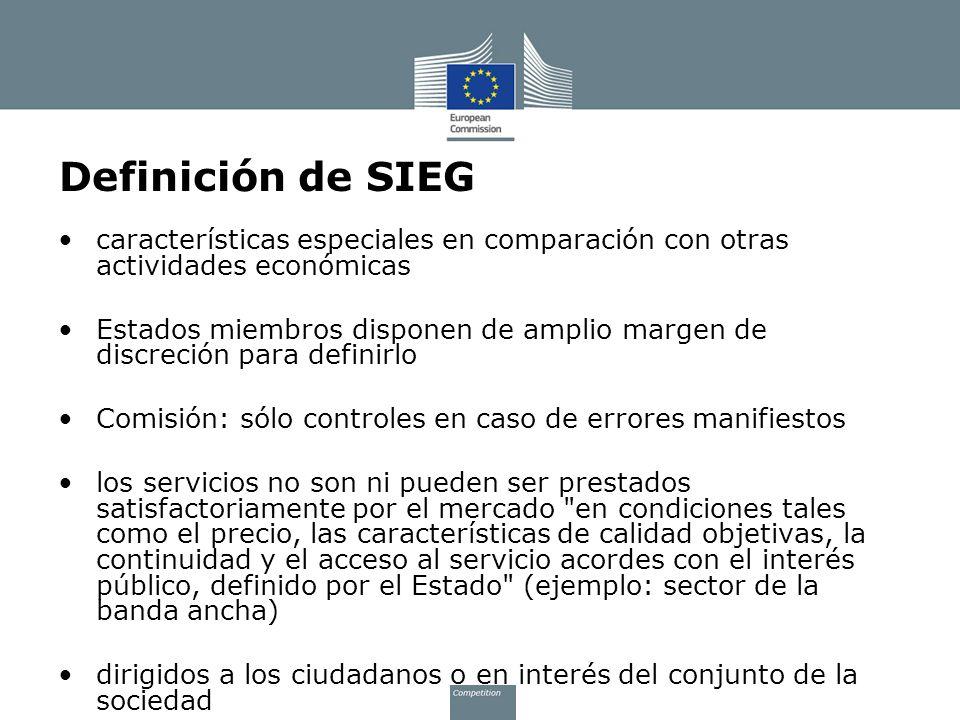 Definición de SIEG características especiales en comparación con otras actividades económicas.
