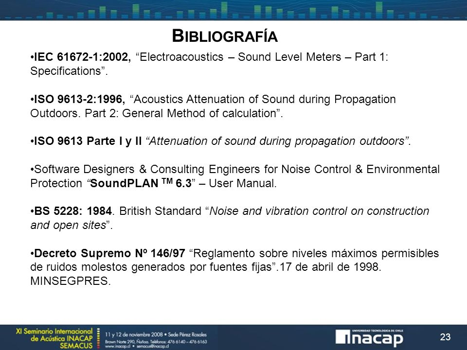 Bibliografía IEC 61672-1:2002, Electroacoustics – Sound Level Meters – Part 1: Specifications .