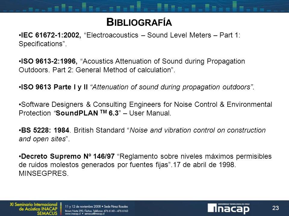 Bibliografía IEC 61672-1:2002, Electroacoustics – Sound Level Meters – Part 1: Specifications .