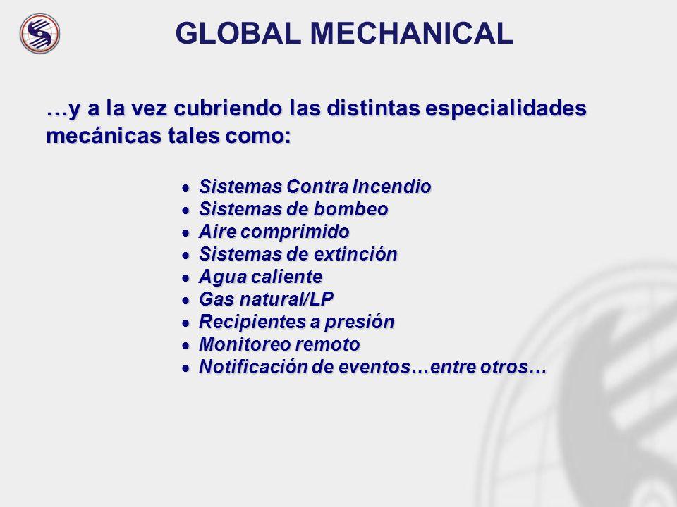 GLOBAL MECHANICAL …y a la vez cubriendo las distintas especialidades mecánicas tales como: Sistemas Contra Incendio.