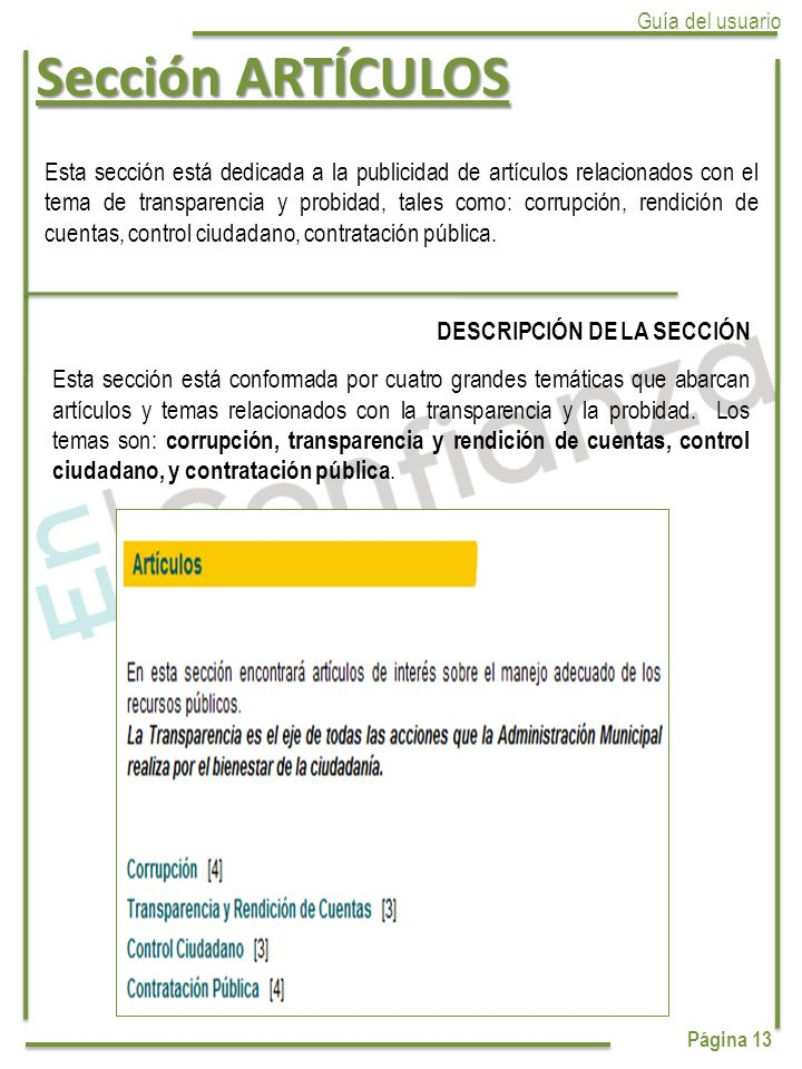 Sección ARTÍCULOS Guía del usuario. Página 13.