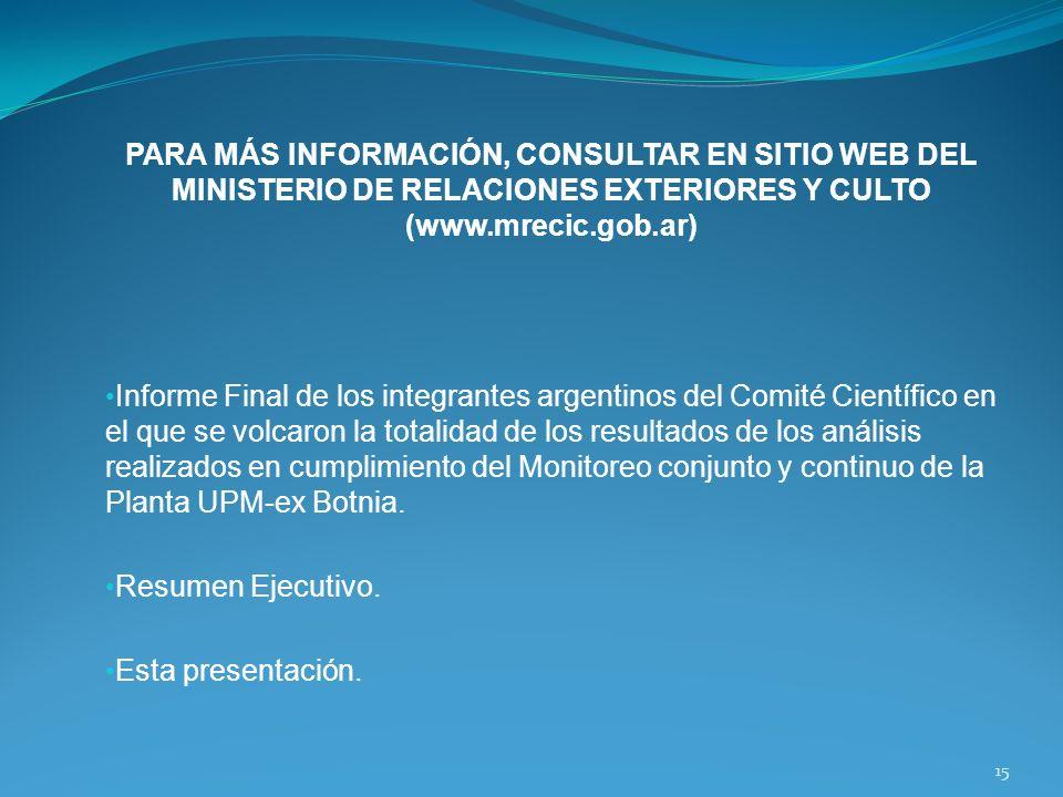 PARA MÁS INFORMACIÓN, CONSULTAR EN SITIO WEB DEL MINISTERIO DE RELACIONES EXTERIORES Y CULTO (www.mrecic.gob.ar)