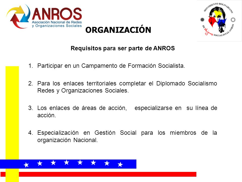 Requisitos para ser parte de ANROS