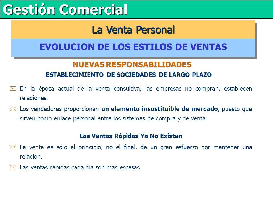La Venta Personal EVOLUCION DE LOS ESTILOS DE VENTAS