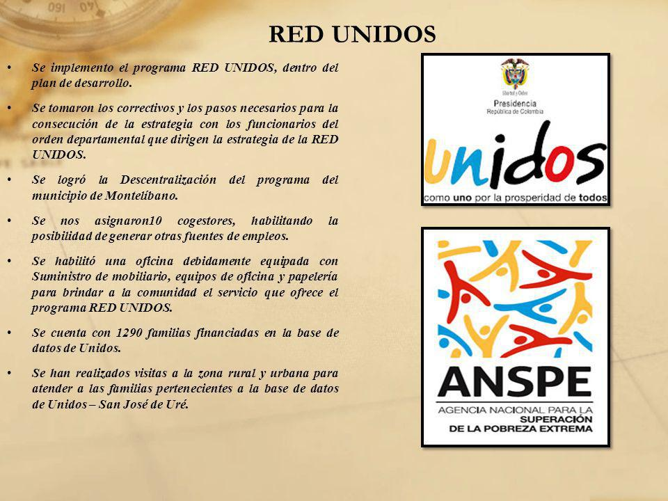 RED UNIDOS Se implemento el programa RED UNIDOS, dentro del plan de desarrollo.