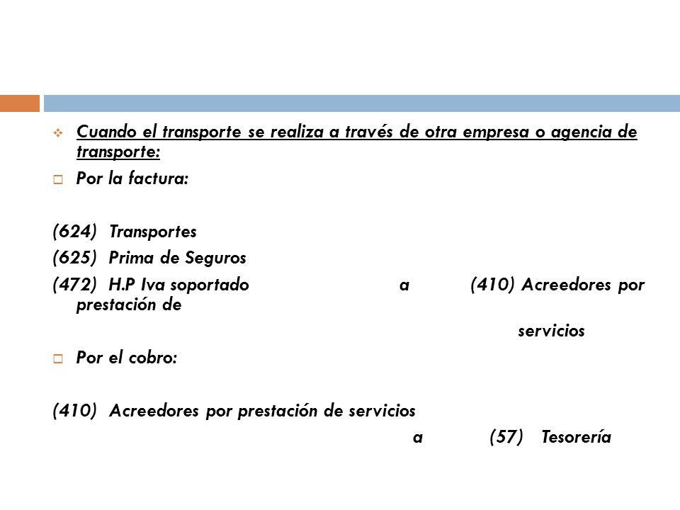 Cuando el transporte se realiza a través de otra empresa o agencia de transporte: