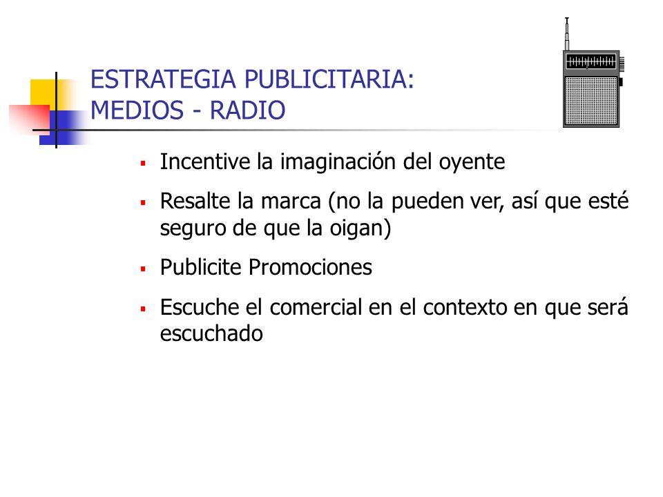 ESTRATEGIA PUBLICITARIA: MEDIOS - RADIO