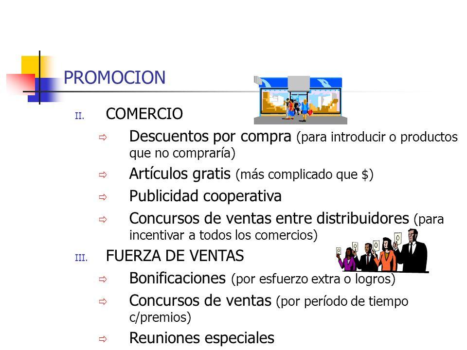 PROMOCION COMERCIO. Descuentos por compra (para introducir o productos que no compraría) Artículos gratis (más complicado que $)