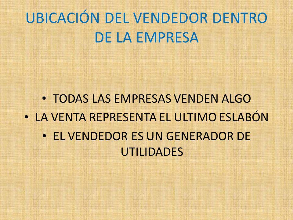 UBICACIÓN DEL VENDEDOR DENTRO DE LA EMPRESA