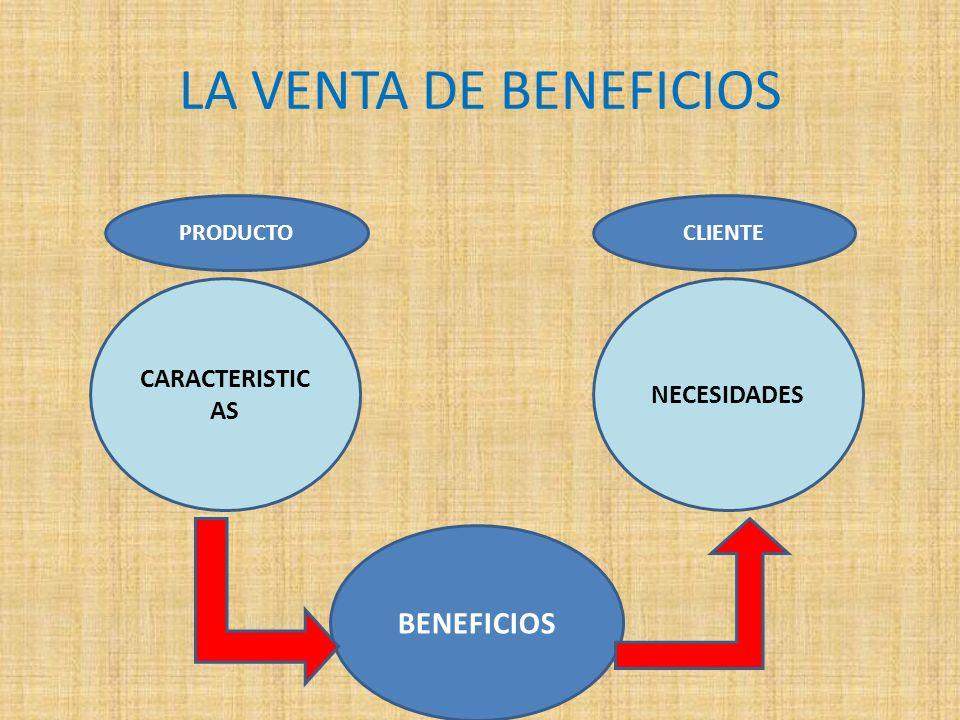 LA VENTA DE BENEFICIOS BENEFICIOS CARACTERISTICAS NECESIDADES PRODUCTO
