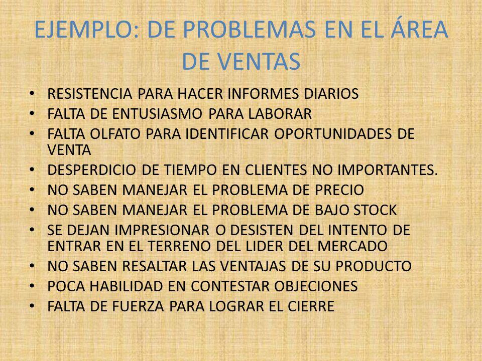 EJEMPLO: DE PROBLEMAS EN EL ÁREA DE VENTAS