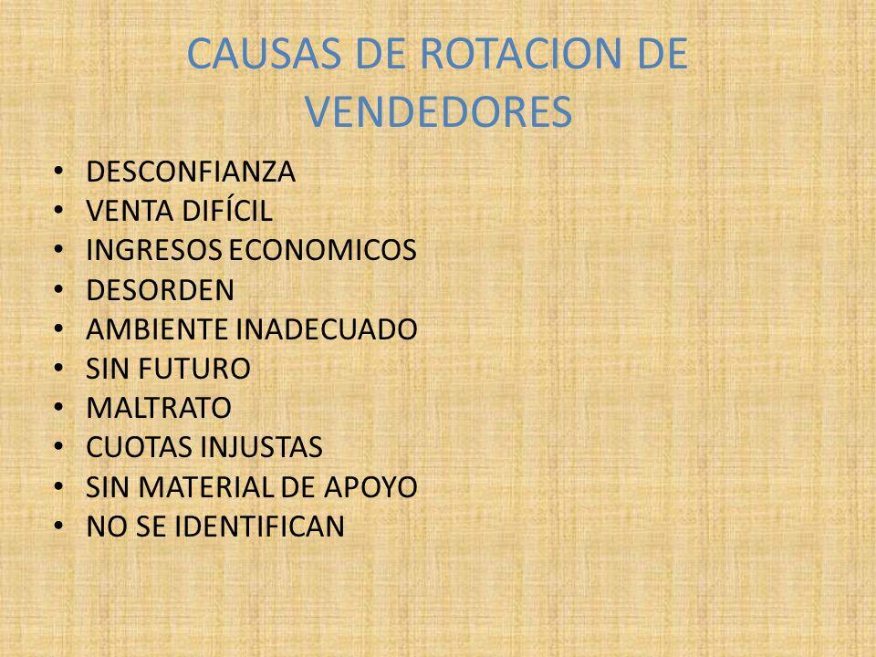 CAUSAS DE ROTACION DE VENDEDORES