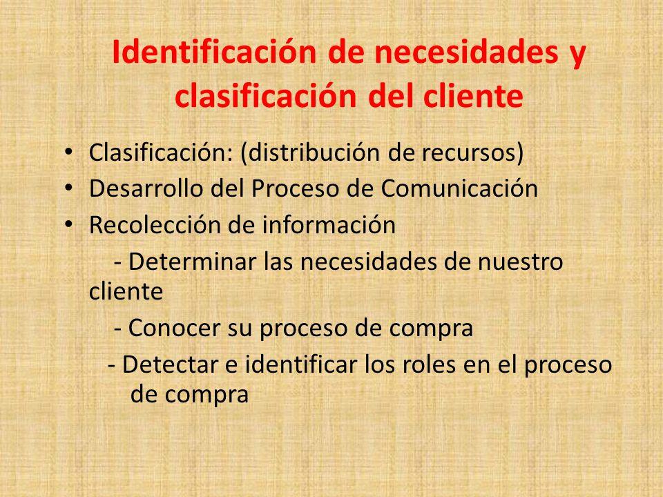 Identificación de necesidades y clasificación del cliente