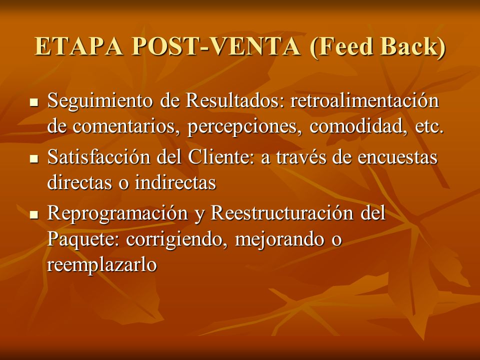 ETAPA POST-VENTA (Feed Back)