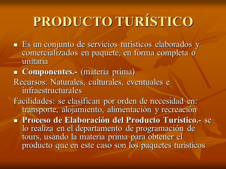 PRODUCTO TURÍSTICO Es un conjunto de servicios turísticos elaborados y comercializados en paquete, en forma completa o unitaria.