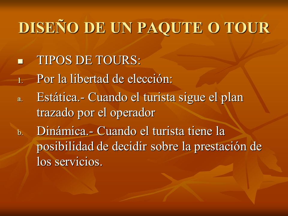 DISEÑO DE UN PAQUTE O TOUR