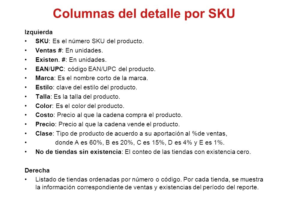 Columnas del detalle por SKU