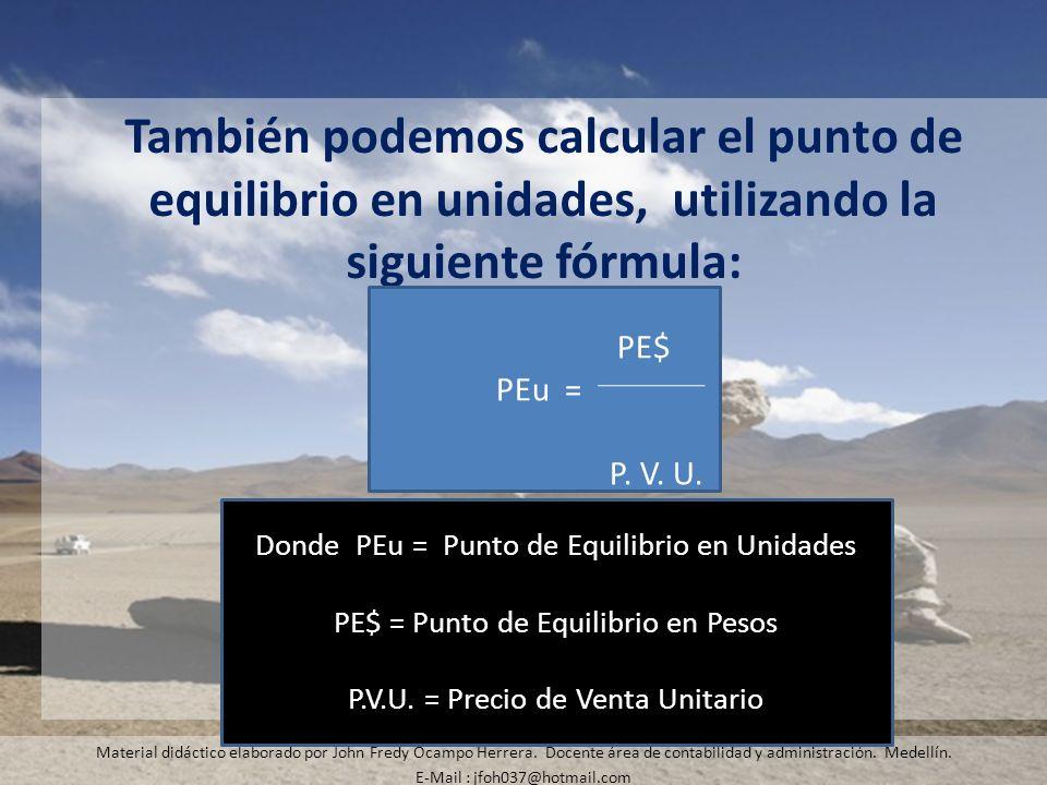 También podemos calcular el punto de equilibrio en unidades, utilizando la siguiente fórmula: