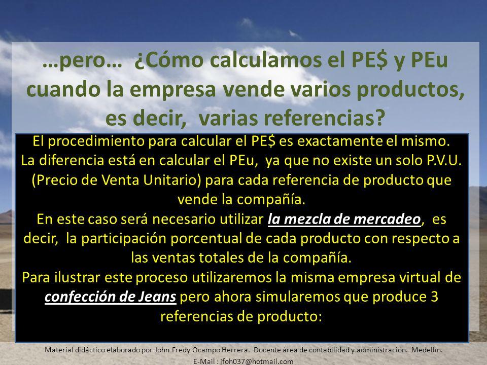 …pero… ¿Cómo calculamos el PE$ y PEu cuando la empresa vende varios productos, es decir, varias referencias