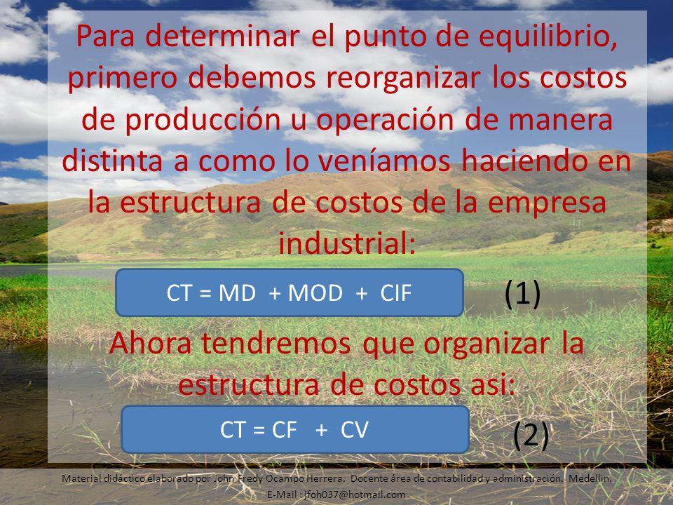 Ahora tendremos que organizar la estructura de costos asi: (2)