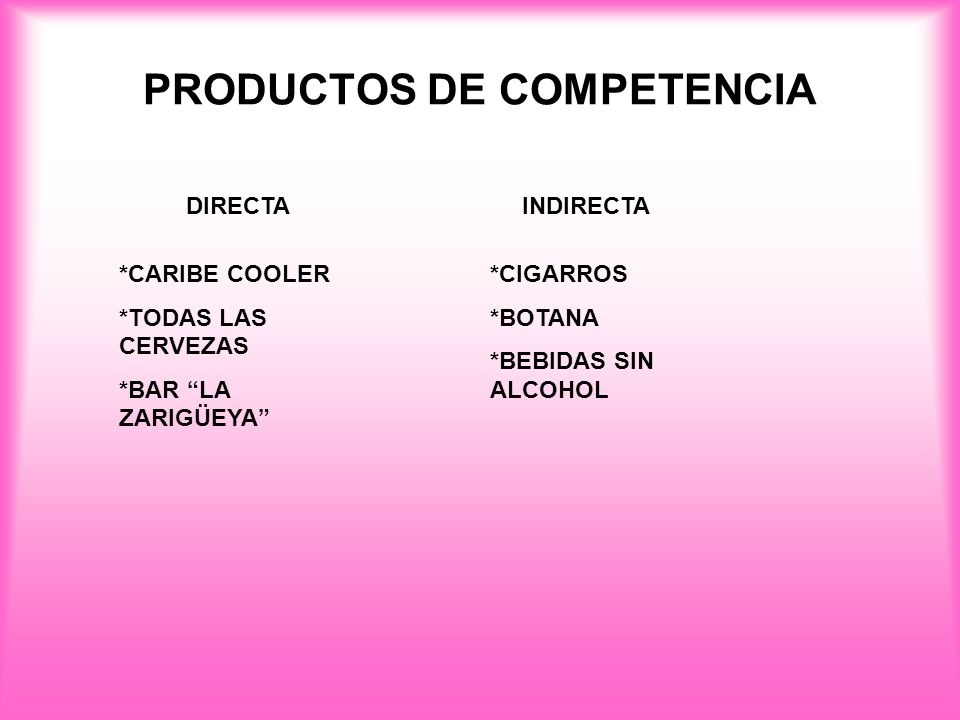 PRODUCTOS DE COMPETENCIA