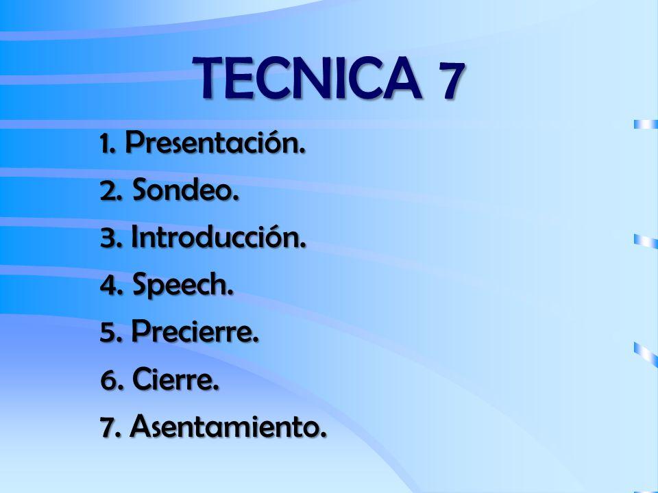 TECNICA 7 1. Presentación. 2. Sondeo. 3. Introducción. 4. Speech.