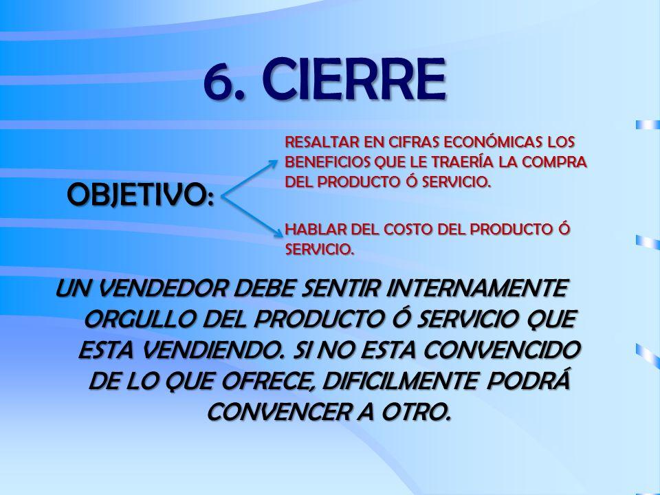 6. CIERRE RESALTAR EN CIFRAS ECONÓMICAS LOS BENEFICIOS QUE LE TRAERÍA LA COMPRA DEL PRODUCTO Ó SERVICIO.