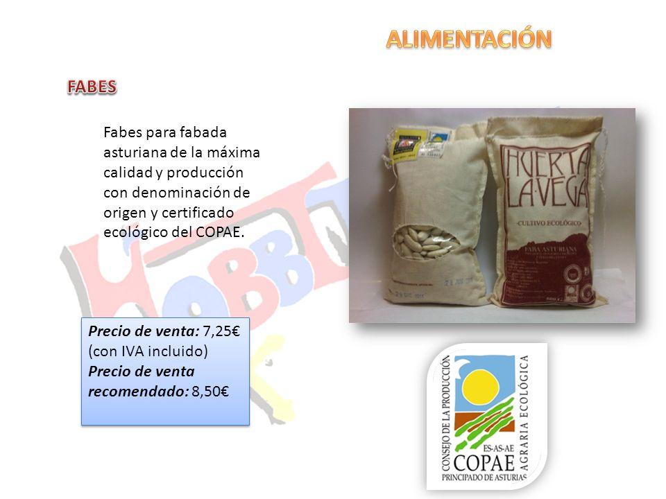 ALIMENTACIÓN FABES. Fabes para fabada asturiana de la máxima calidad y producción con denominación de origen y certificado ecológico del COPAE.