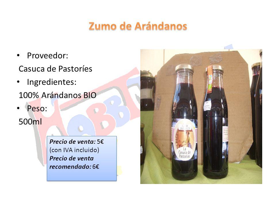 Zumo de Arándanos Proveedor: Casuca de Pastoríes Ingredientes: