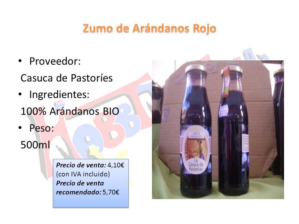 Zumo de Arándanos Rojo Proveedor: Casuca de Pastoríes Ingredientes: