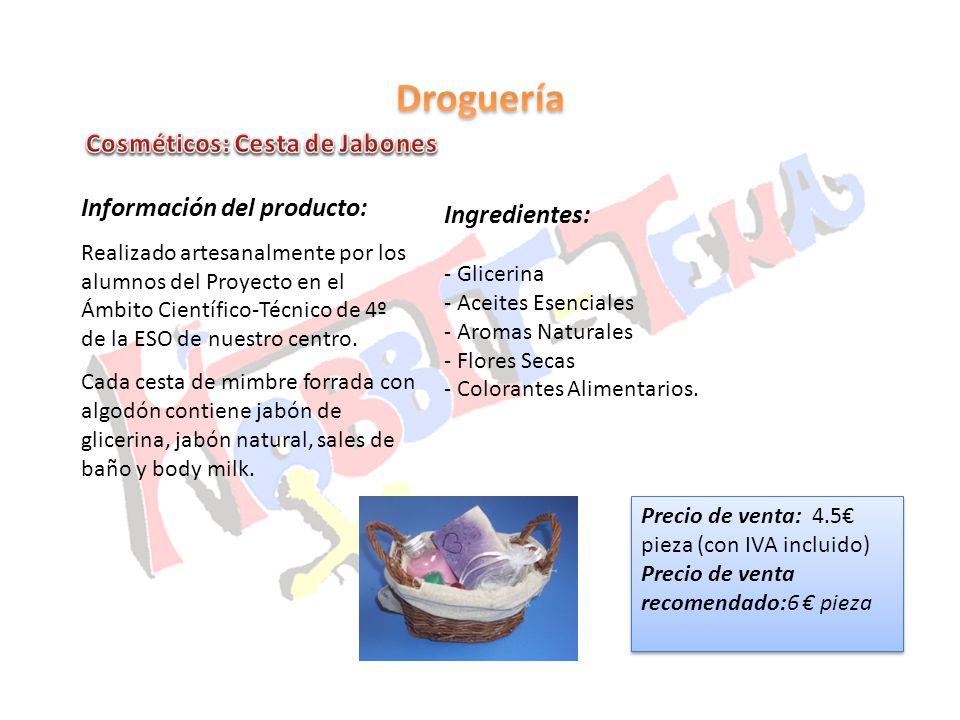 Droguería Cosméticos: Cesta de Jabones Información del producto: