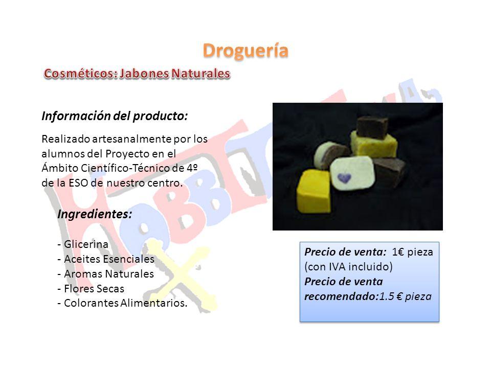 Droguería Cosméticos: Jabones Naturales Información del producto: