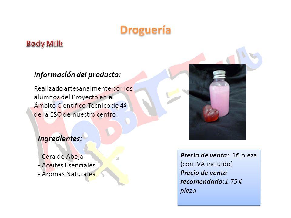 Droguería Body Milk Información del producto: Ingredientes: