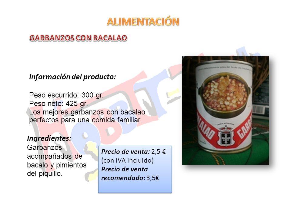 ALIMENTACIÓN GARBANZOS CON BACALAO Información del producto:
