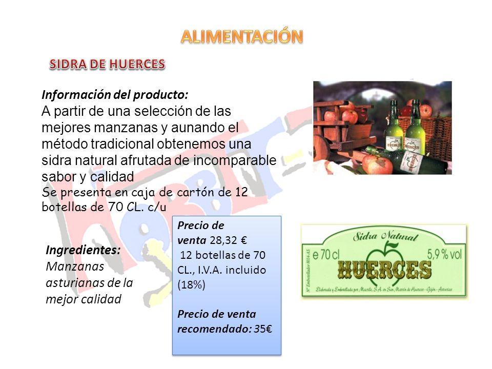 ALIMENTACIÓN SIDRA DE HUERCES Información del producto: