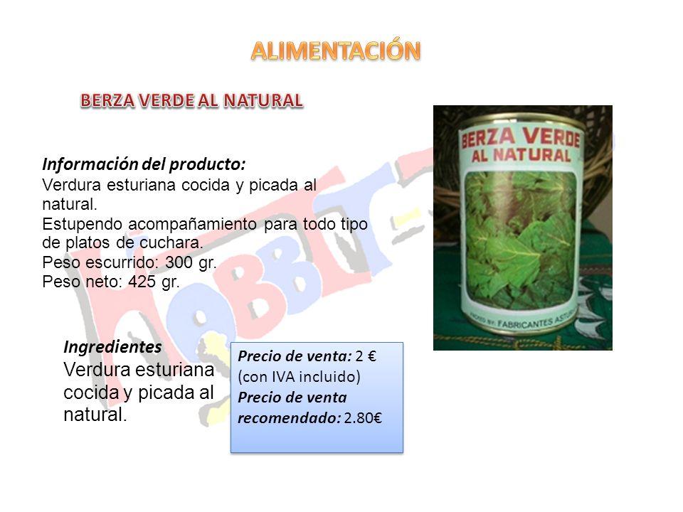 ALIMENTACIÓN BERZA VERDE AL NATURAL Información del producto: