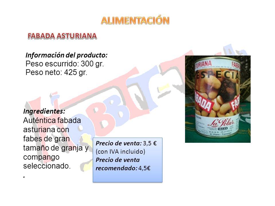 ALIMENTACIÓN FABADA ASTURIANA Información del producto: